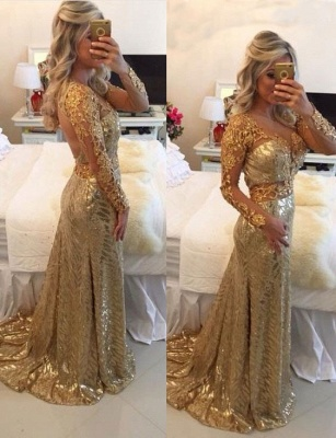 Delicate Gold Sequined Lace Appliques Prom Dress | Mermaid Long Sleeve Evening Gown_1
