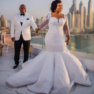 Gorgeous White Mermaid Beads 3/4-length Sleeves Wedding Dress | Plus Size Bridal Gown_2