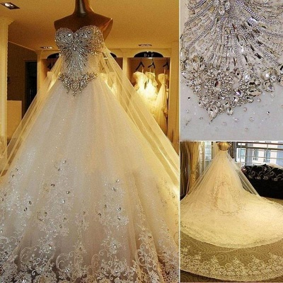 Beading White Lace Wedding Dresses Wholesale Topped Sweetheart Lace Cathedral Train Gowns_5