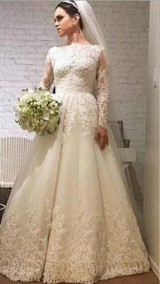 Elegant Lace Appliques Tulle 2020 Wedding Dress Long Sleeve A-line_1