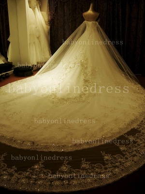 Beading White Lace Wedding Dresses Wholesale Topped Sweetheart Lace Cathedral Train Gowns_3