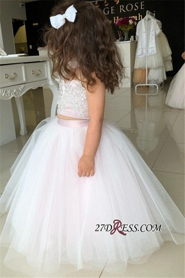 Flower Lovely Two-Pieces Sweetheart Tulle Pink Appliques Girl Dresses_4