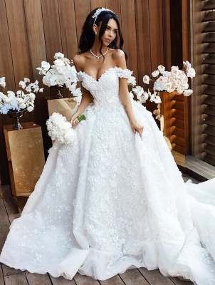 Elegant Off-the-Shoulder 2020 Wedding Dresses | Princess Lace Appliques Crystal Bridal Gowns_1