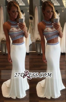 Crystal Mermaid Pieces Two High-Neck Glamorous Prom Dress BA3593_2