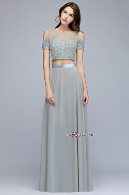 Exquisite Chiffon Two-Pieces Silver A-Line Appliques Bridesmaid Dresses_3