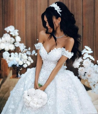 Elegant Off-the-Shoulder 2020 Wedding Dresses | Princess Lace Appliques Crystal Bridal Gowns_3