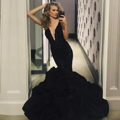 Sexy Black Prom Dress | 2020 Lace Appliques Mermaid Evening Party Gowns_3