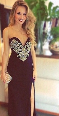 Sexy Sweetheart Crystals Bodycon 2020 Prom Dress Open Back Front Split_2