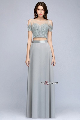 Exquisite Chiffon Two-Pieces Silver A-Line Appliques Bridesmaid Dresses_6