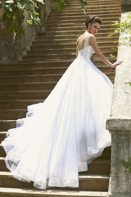 Delicate Strap Tulle Wedding Dress Beadings Appliques Ball Gown_5