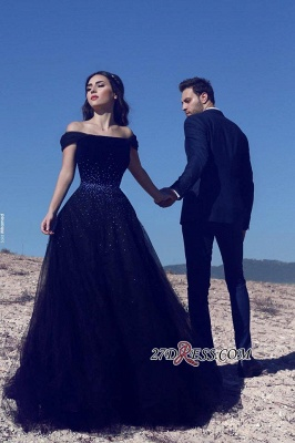 Tulle A-Line Glamorous Off-the-Shoulder Beadings Dark-Navy Evening Gowns_2