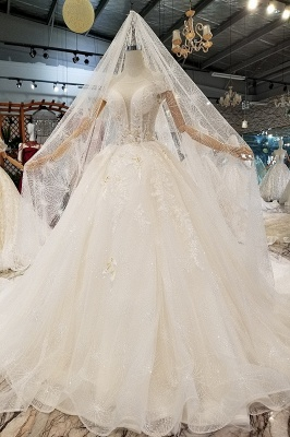 Glamorous Cap Sleeves Beadings Wedding Dresses | 2020 Ball Gown Lace Sequins Bridal Dress_1