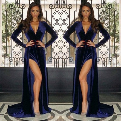 2020 Modest V Neck Long Prom Gown   Long Sleeve Evening Dress With Slit BC0523_2