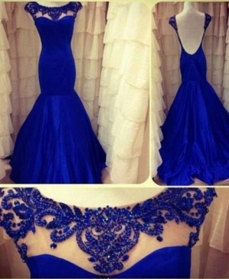 Lace Backless Mermaid Evening Dresses 2020 Long Sleeves Ruffles Prom Gown with Jewel appliques_1