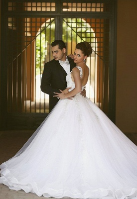 Delicate Strap Tulle Wedding Dress Beadings Appliques Ball Gown_2