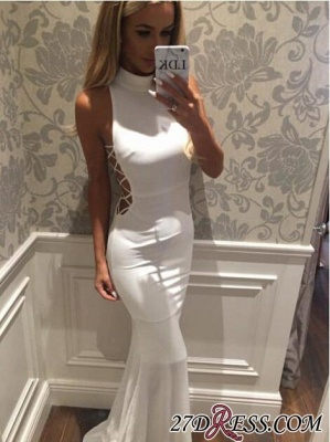 Mermaid High-Neck Sweep-Train Modern White Zipper Sleeveless Prom Dress BA5005_3