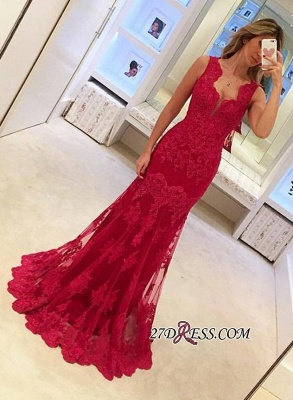 Sexy Sleeveless Red Mermaid Elegant Long Lace Evening Dresses BA3745_2