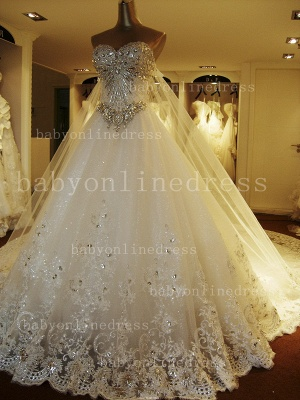 Beading White Lace Wedding Dresses Wholesale Topped Sweetheart Lace Cathedral Train Gowns_1