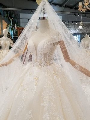 Glamorous Cap Sleeves Beadings Wedding Dresses | 2020 Ball Gown Lace Sequins Bridal Dress_2