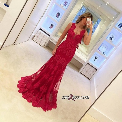 Sexy Sleeveless Red Mermaid Elegant Long Lace Evening Dresses BA3745_1