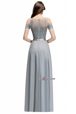 Exquisite Chiffon Two-Pieces Silver A-Line Appliques Bridesmaid Dresses_2