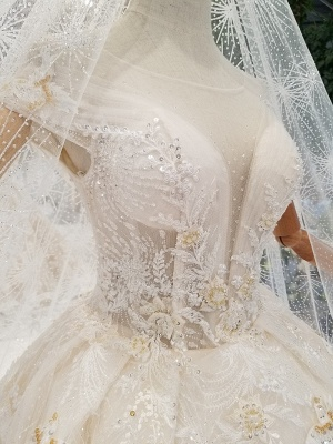 Glamorous Cap Sleeves Beadings Wedding Dresses | 2020 Ball Gown Lace Sequins Bridal Dress_5