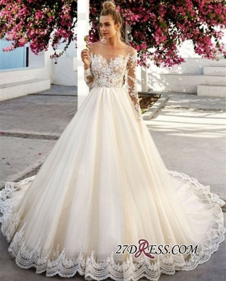 Exquisite Off The Shoulder A-Line Wedding Dresses | Long Sleeves Lace Appliques Bridal Gowns BC0756_2