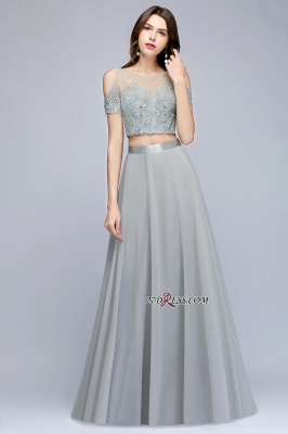 Exquisite Chiffon Two-Pieces Silver A-Line Appliques Bridesmaid Dresses_5