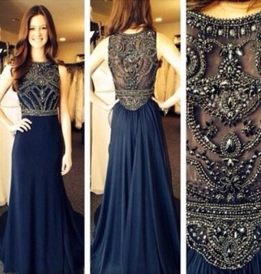 sexy sleeveless navy prom dresses 2020 floor length chiffon top sheer party gowns with Beaded Rhinestones_2