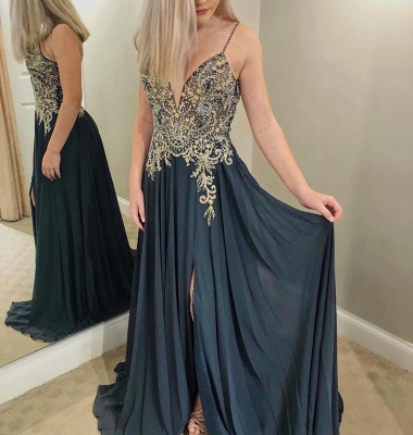 Charming Spaghetti Strap Sleeveless Evening Gowns | Beaded Appliques Prom Dress With Split_2