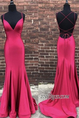 Floor-length Mermaid Ruffles Backless V-neck Spaghetti-strap Prom Dress