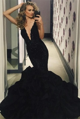 Sexy Black Prom Dress | 2020 Lace Appliques Mermaid Evening Party Gowns_2