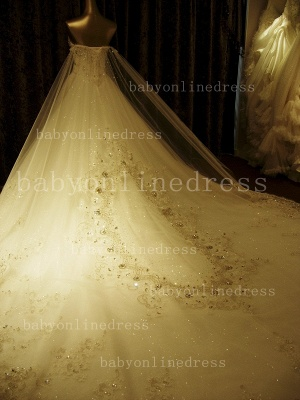 Beading White Lace Wedding Dresses Wholesale Topped Sweetheart Lace Cathedral Train Gowns_4