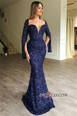 Shiny Sequins Mermaid Evening Dresses | Sexy Half-Sleeves Sweetheart Prom Dresses_1