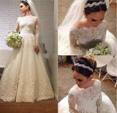 Elegant Lace Appliques Tulle 2020 Wedding Dress Long Sleeve A-line_3