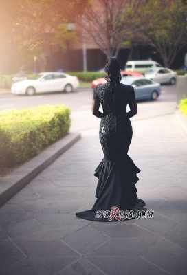 2020 Deep-V-Neck Mermaid Long-Sleeves Lace Appliques Puffy Hi-lo Black Prom Dresses BC0309_2