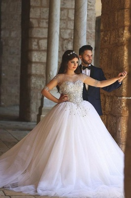 Glamorous Illusion Half Sleeve Tulle Wedding Dress Beadings Ball Gown_2