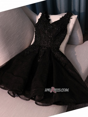 Black A-Line Short Prom Dress | 2020 Homecoming Dress With Lace Appliques BC0800_5