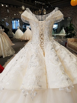 Luxurious Cap Sleeve Ball Gown Wedding Dresses | 2020 Lace Beadings Bridal Gowns_4