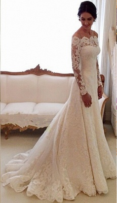 Glamorous Long Sleeve Lace Wedding Dress With Long Train And Lace Appliques_2