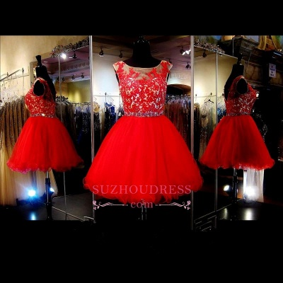 A-Line Red Appliques Tulle Short Sleeveless Mini Homecoming Dress_1