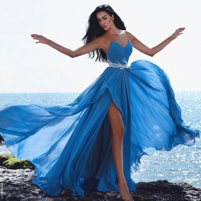 Modern Blue Sweetheart Chiffon Prom Dress with Split | 2020 Long Party Gown_2