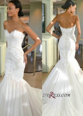 Strapless Sleeves Mermaid Lace Sweep-train Tulle Wedding Dress_2