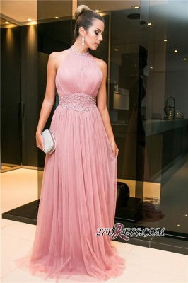 2020 Tulle Halter Open-Back Long Candy-Pink Sleeveless Beaded Evening Dress_3