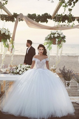Delicate Tulle Lace Appliques 2020 Wedding Dress Off-the-shoulder Ball Gown_3