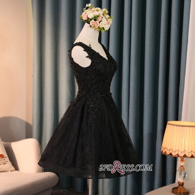 Black A-Line Short Prom Dress   2020 Homecoming Dress With Lace Appliques BC0800_3