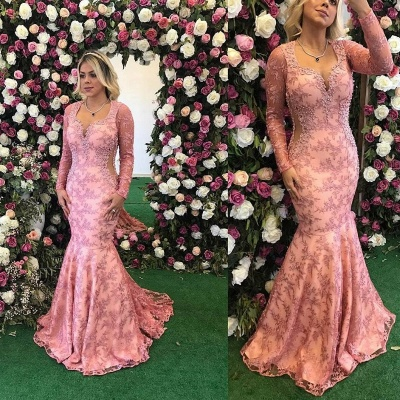 2020 Long Sleeve Prom Dress   Mermaid Lace Appliques Evening Gowns BA9236_2