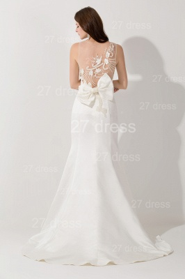Sexy White Mermaid Illusion Evening Dress Pearls Bowknot Sweep Train_4