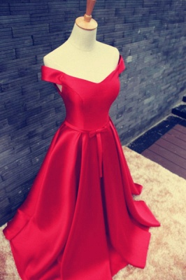 Elegant Red Off-the-shoulder 2020 Prom Dress Bowknot Lace-up_2