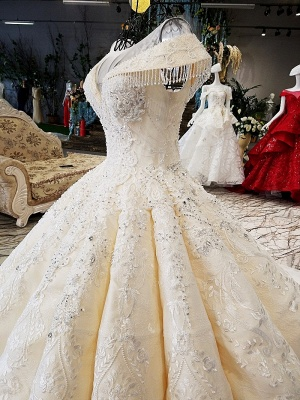 Luxurious Cap Sleeve Ball Gown Wedding Dresses | 2020 Lace Beadings Bridal Gowns_5